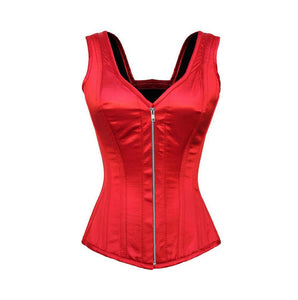 Plus Size Red Satin Shoulder Straps Silver Zipper Overbust Corset Gothic Burlesque Costume