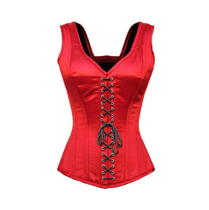 Red Satin Corset Shoulder Straps Gothic Burlesque Bustier Waist Training Overbust