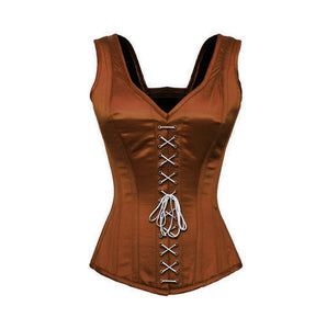 Plus Size Brown Satin Shoulder Straps Overbust Corset Burlesque Costume Waist Training Bustier - CorsetsNmore