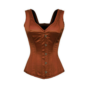 Brown Satin Shoulder Straps Gothic Burlesque Corset Waist Training Overbust