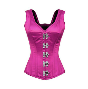 Purple Satin Plus Size Corset Shoulder Straps Seal Lock Burlesque Costume Overbust - CorsetsNmore