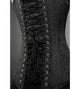 Plus Size Black Brocade Gothic Overbust Corset Burlesque Costume Waist Training Antique Zipper Opening LONGLINE Bustier Top