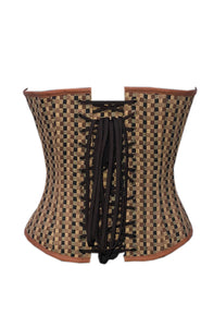 Brown Checkered Print Spikes Gothic Overbust Plus Size Corset Steampunk Costume Waist Training Top