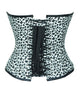 Leopard Animal Print White Faux Leather Plus Size Overbust Corset Steampunk Costume