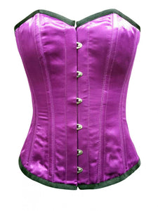 Purple Satin Corset Front Open Busk Corset With Waist Cincher Overbust