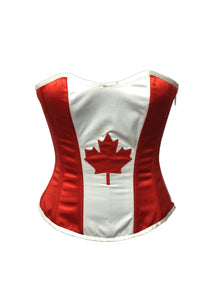 Christmas Corset Red White Satin Canada Flag Burlesque Waist Training Overbust