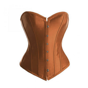 Brown Satin Gothic Burlesque Corset Waist Training Bustier Overbust