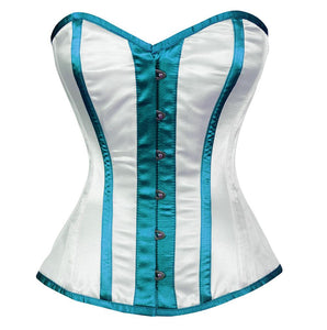 White Satin With Red Stripes Burlesque Overbust Plus Size Corset Waist Training - CorsetsNmore