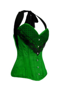 Green Satin Corset Black Net Halter Neck Waist Training LONGLINE Overbust