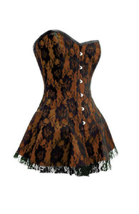 Brown Satin Corset Black Net Gothic Burlesque Costume Overbust