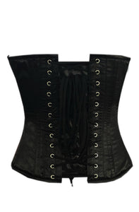 Black Satin Plus Size Corset Zipper Handmade Sequins Skull Overbust Bustier Waist Training Top - CorsetsNmore