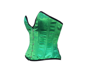 Green Satin Deep Bust Plus Size Overbust Corset Burlesque Costume Waist Training Bustier Top
