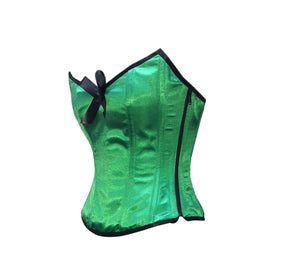 Green Satin Corset Zipper with Black Bow Gothic Burlesque Costume Waist Training Overbust Top-