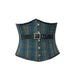 Blue Printed Plus Size Underbust Corset with Black Leather Belt Gothic Costume Waist Cincher Bustier Top