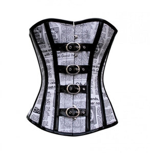 Black And White Newspaper Print Leather Straps Overbust Corset Steampunk Costume Waist Training - CorsetsNmore