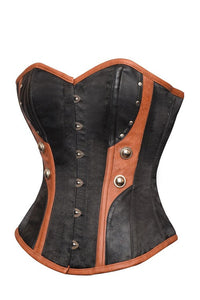 Black Satin Corset Brown Faux Leather Halloween Costume Overbust Bustier Top