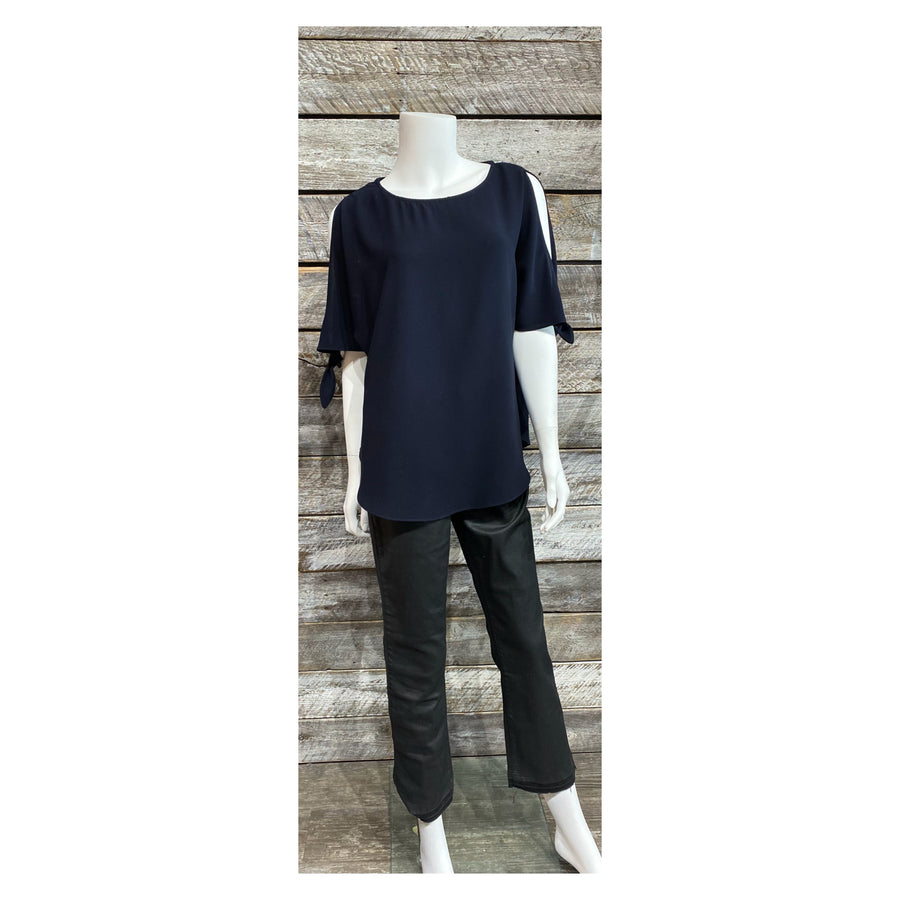 Papillon PT-03048 Blouse Split Sleeve w/Tie - Navy