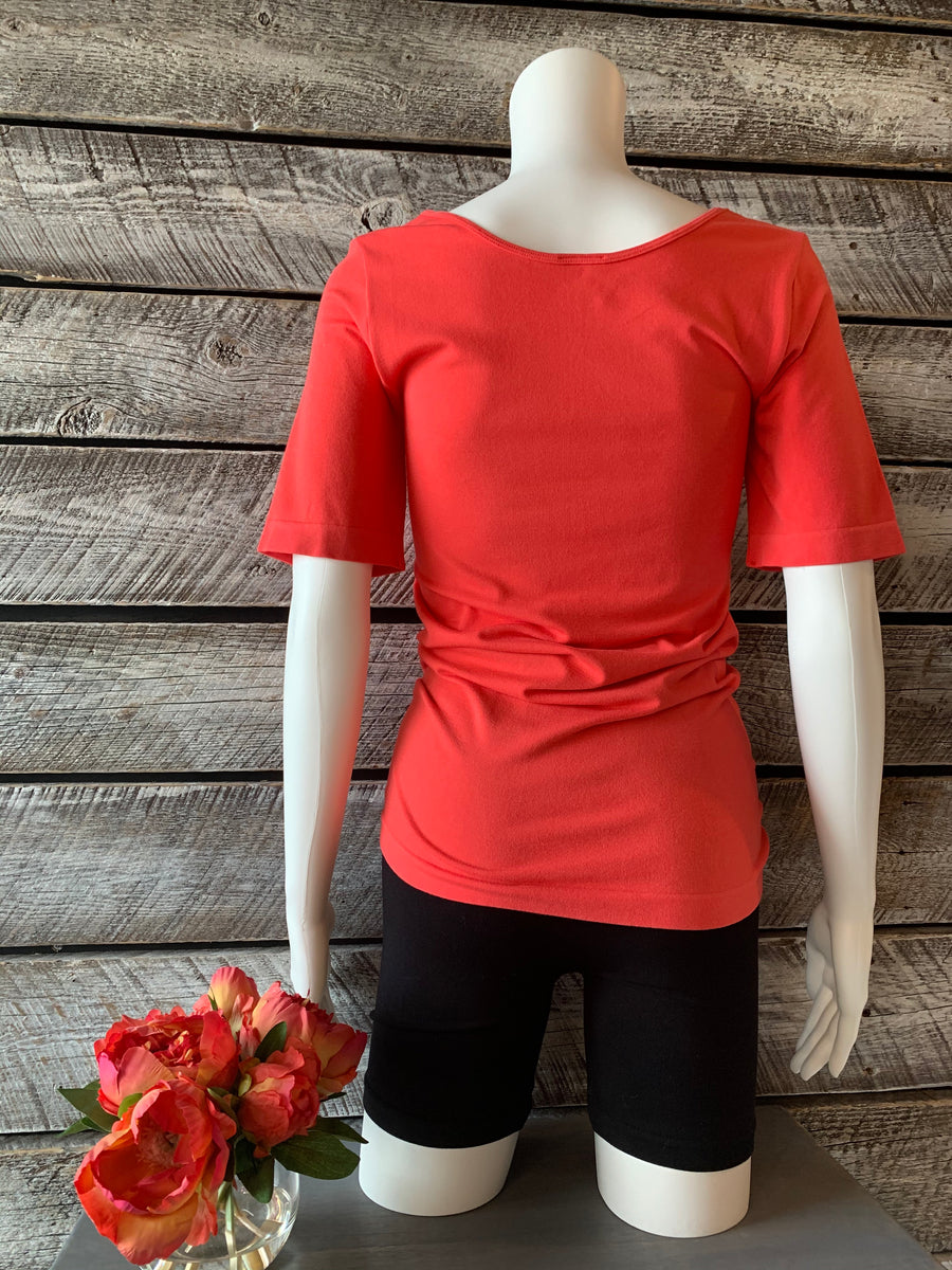 Orange BT-04 Bamboo Natural 3/4 Sleeve Top - Coral O/S