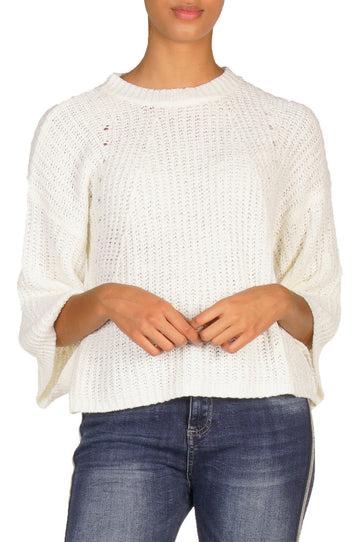 Elan SW10085 Sweater w/Bell Sleeve - White