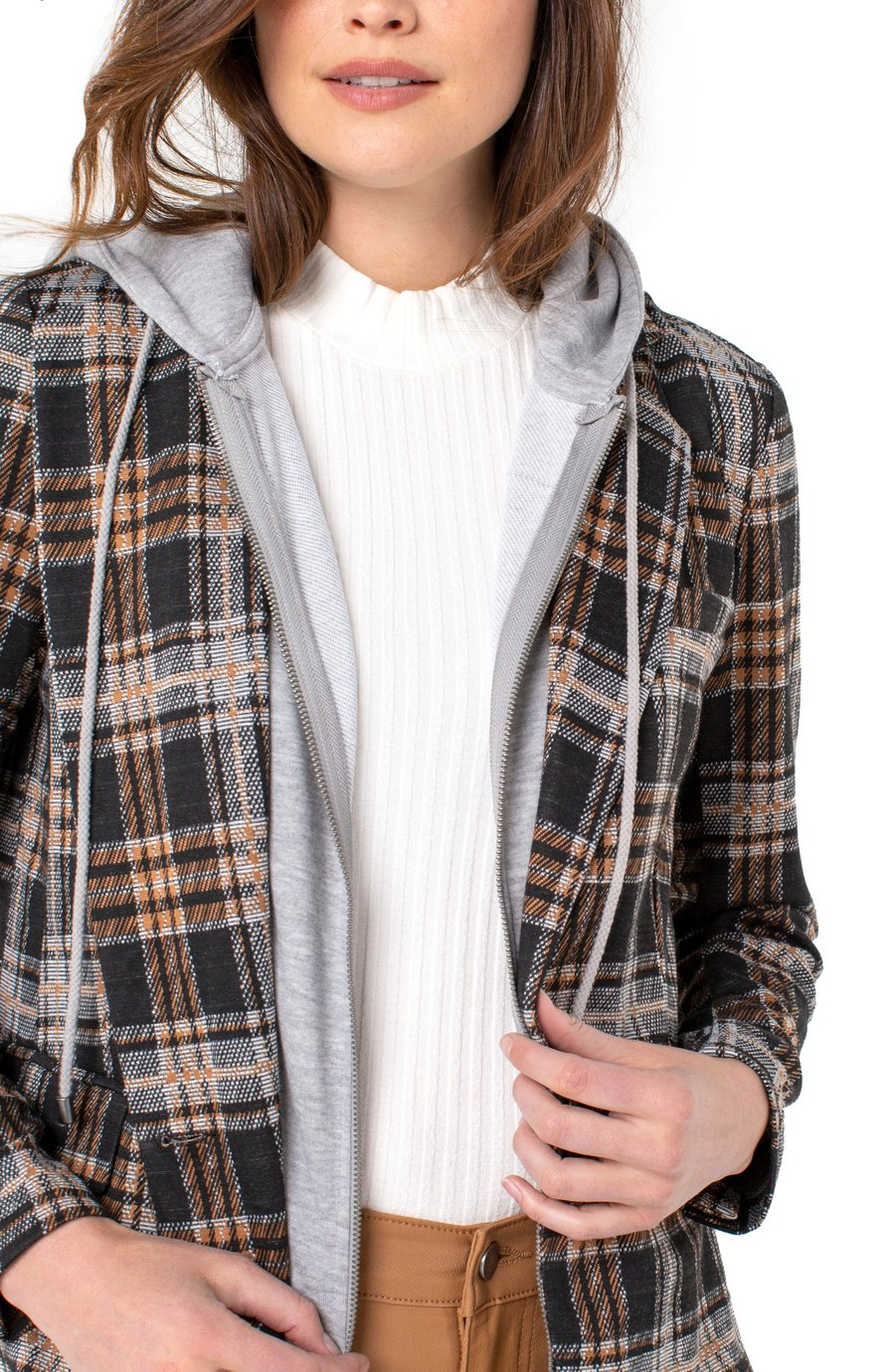 Liverpool LM1599CM49 Hooded Plaid Blazer - Grey Rust Black