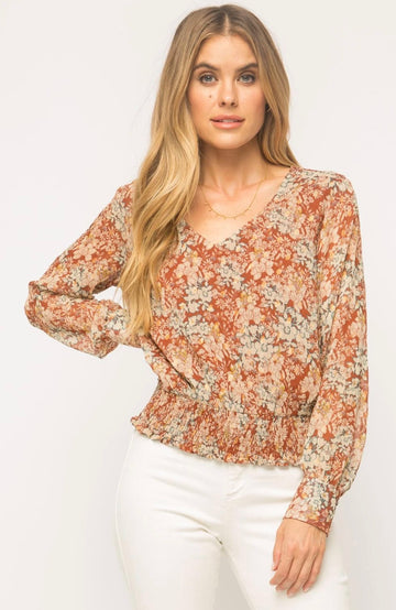 Mystree 18531 Floral Top - Rust Floral