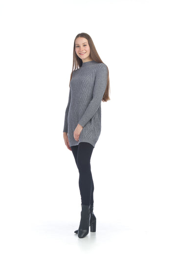 Papillon SD-06416 Cable Knit Dress - Grey