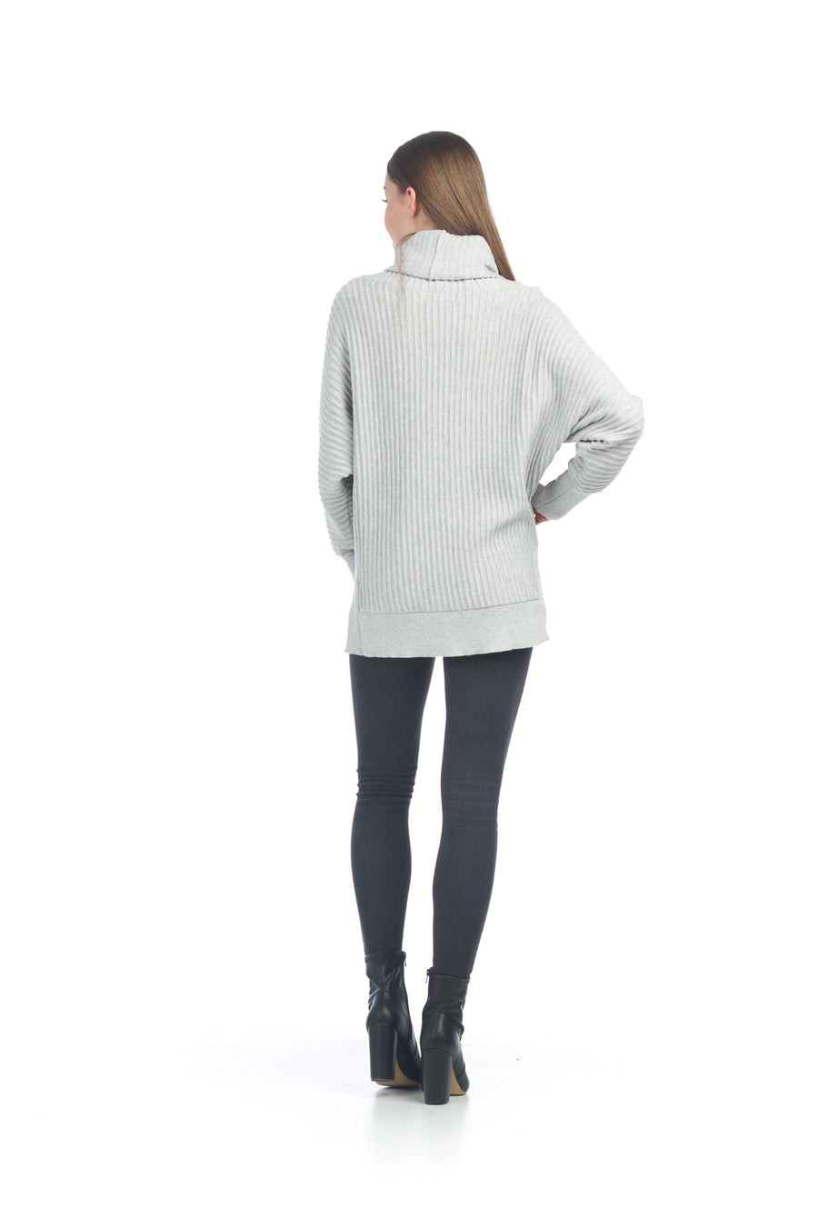 Papillon ST-06206 Ribbed Sweater w/Cowl Neck - Grey