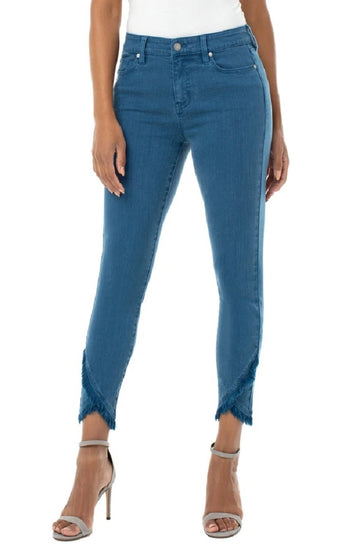 Liverpool Abby Crop Skinny Front Scallop Hem  - Tagine Blue