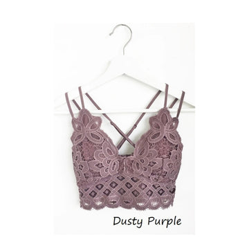 Crochet Lace Bralette - Dusty Purple
