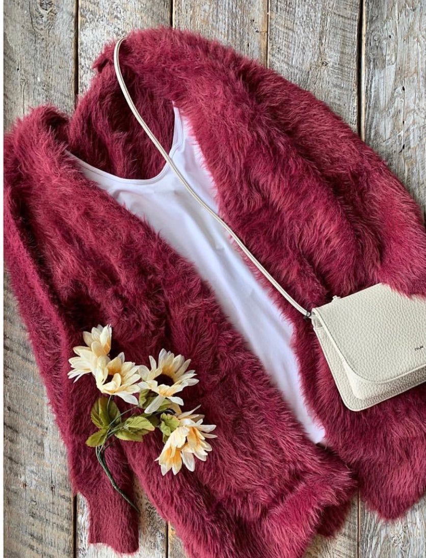 Papillon ST-04352 Fuzzy Long Cardigan - Burgundy