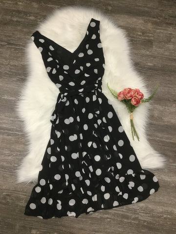Papillon PD-05630 Polka Dot Ruffle Wrap Dress