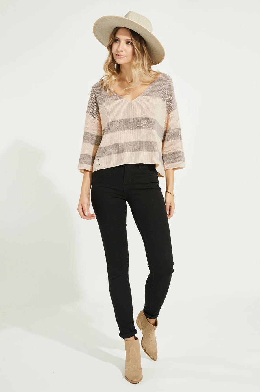 Gentle Fawn Nino Sweater - Heather Oatmeal Stripe