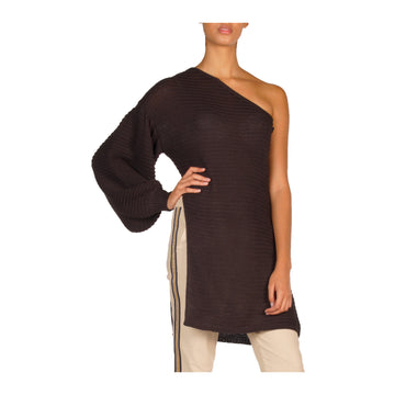 Elan SW10269 One Shoulder Sweater w/Slit - Black