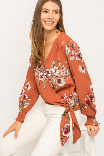Mystree 18625 Floral Wrap Top