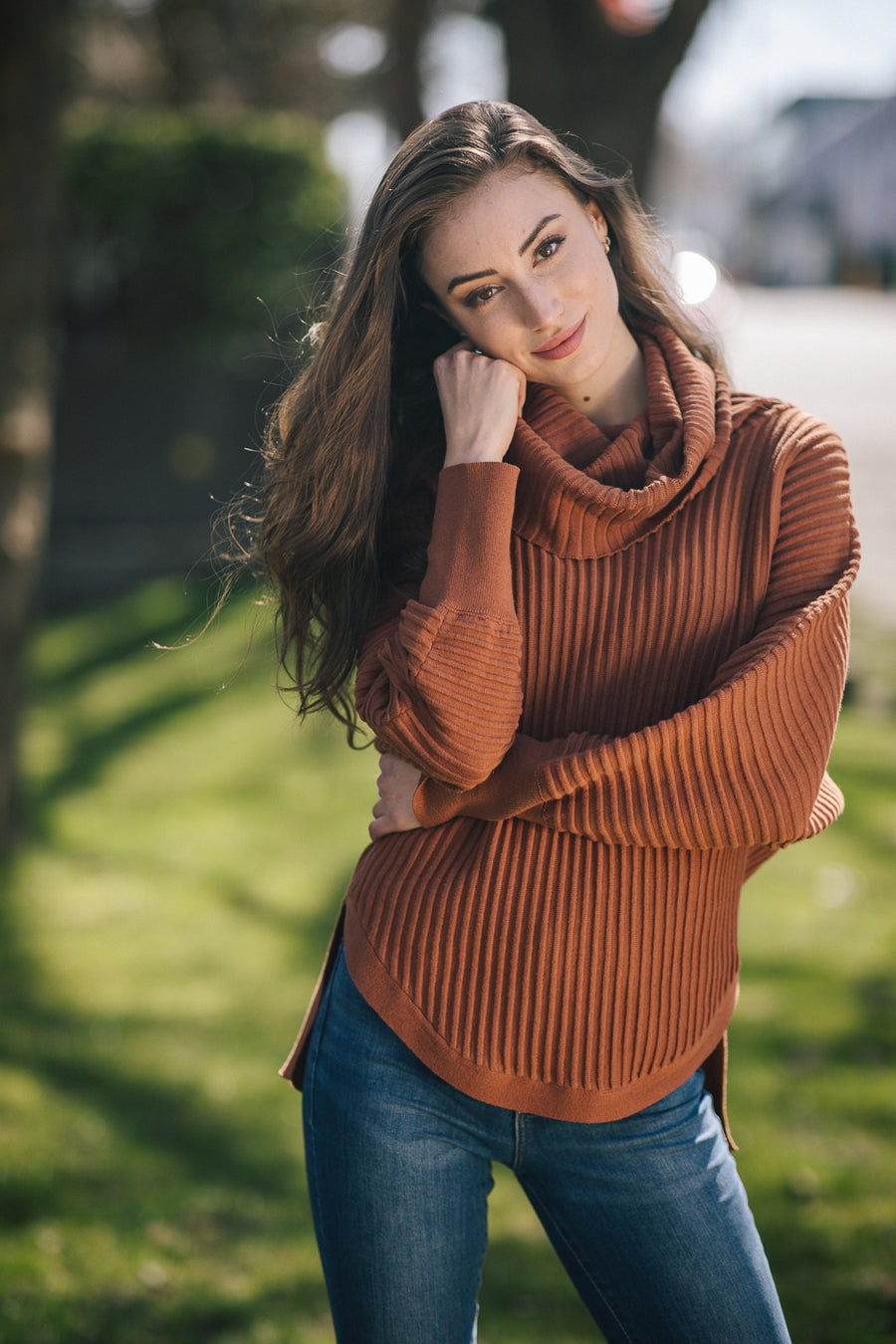 Papillon ST-06206 Ribbed Sweater w/Cowl Neck - Rust