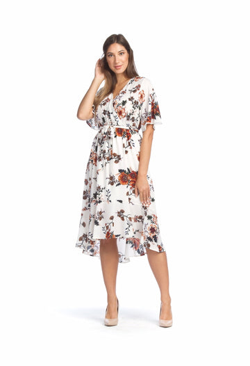 Papillon PD-07520 Floral Wrap Dress - White Floral