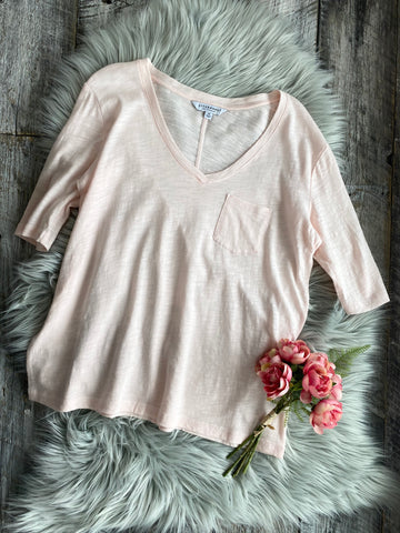 Liverpool 1/2 Sleeve V-Neck Tee w/Pocket - Dawn Pink