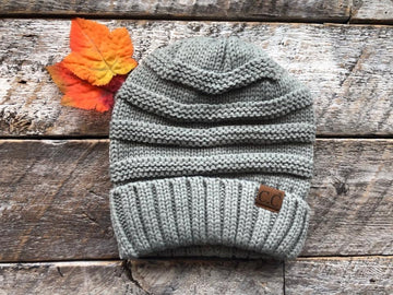 CC Beanie Hat-100 Knitted Slouch Beanie - Grey