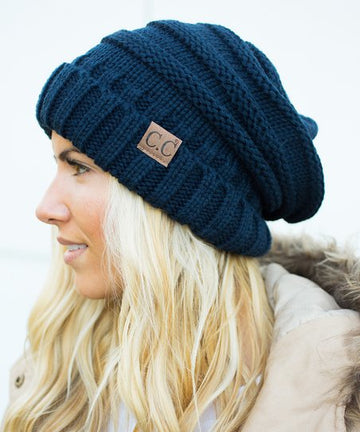 CC Beanie Hat-100 Knitted Slouch Beanie - Navy
