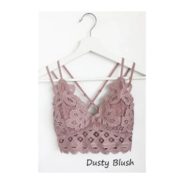 Crochet Lace Bralette - Dusty Blush