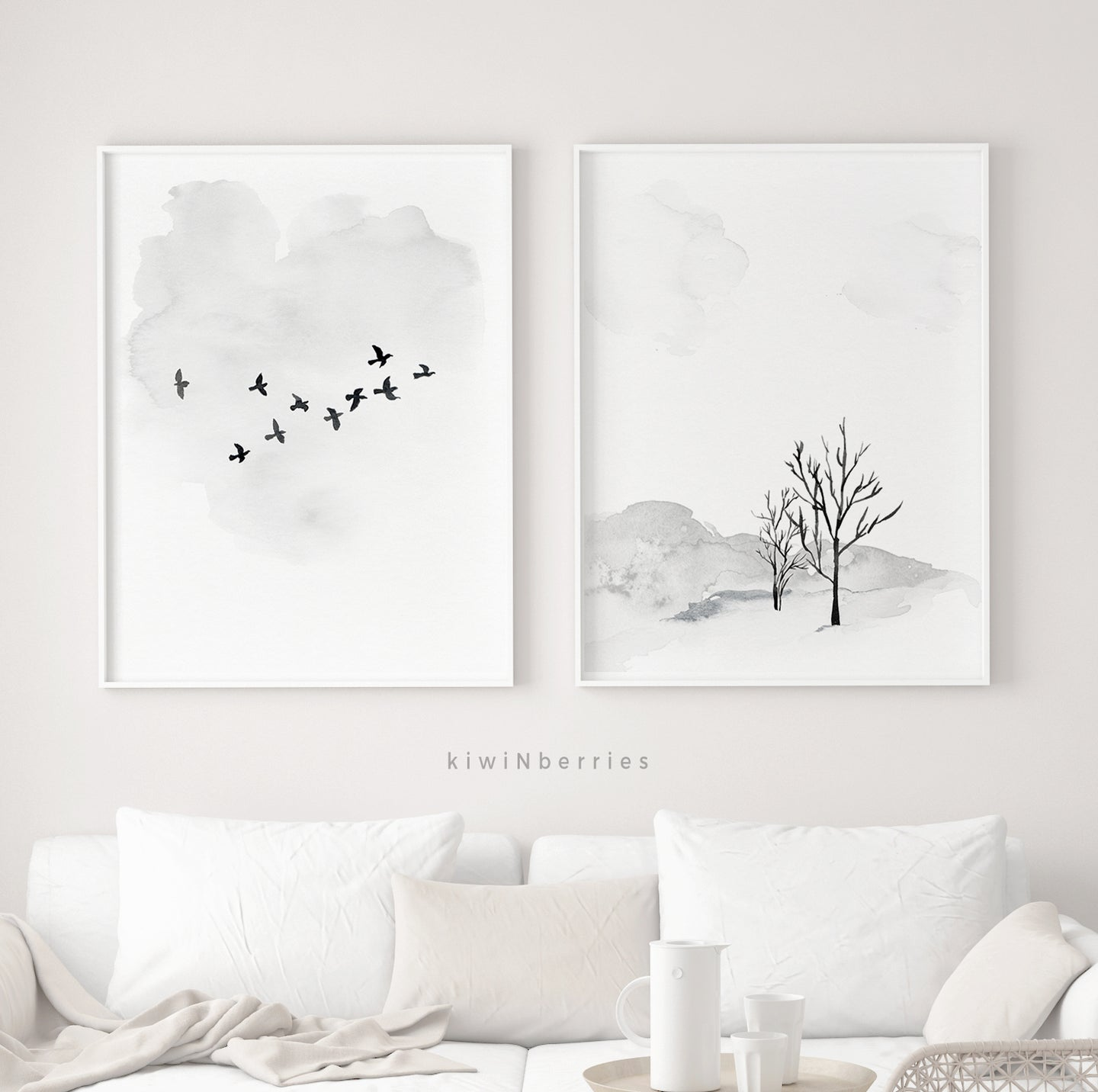 Winter Deer & Trees - set of 2