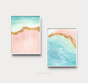 Abstract Pink Beach - set of 2