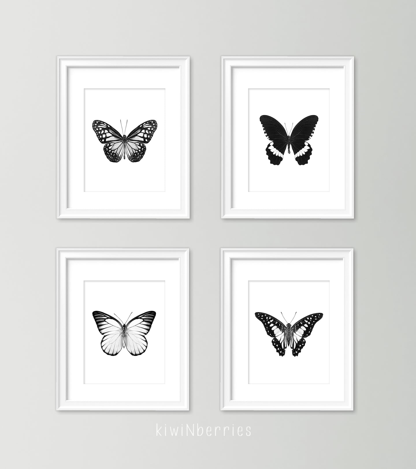 Monochrome Butterflies - set of 4