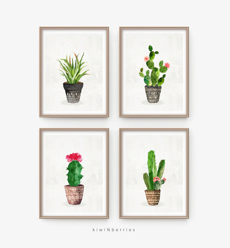 Cactus on Pots - set of 4
