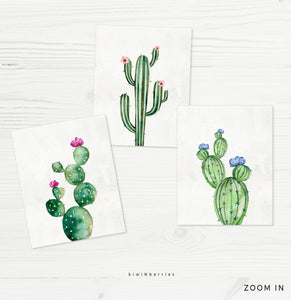 Cactus Watercolor - set of 3