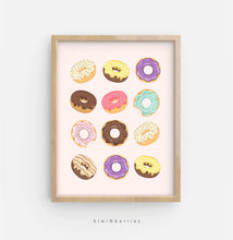Load image into Gallery viewer, Donuts - on pink and blue background