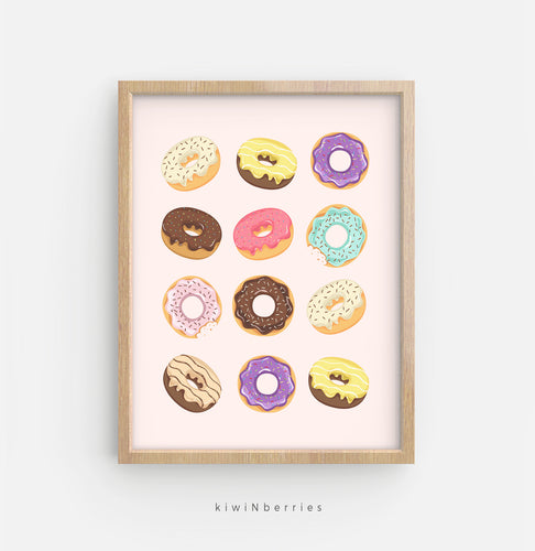 Donuts - on pink and blue background
