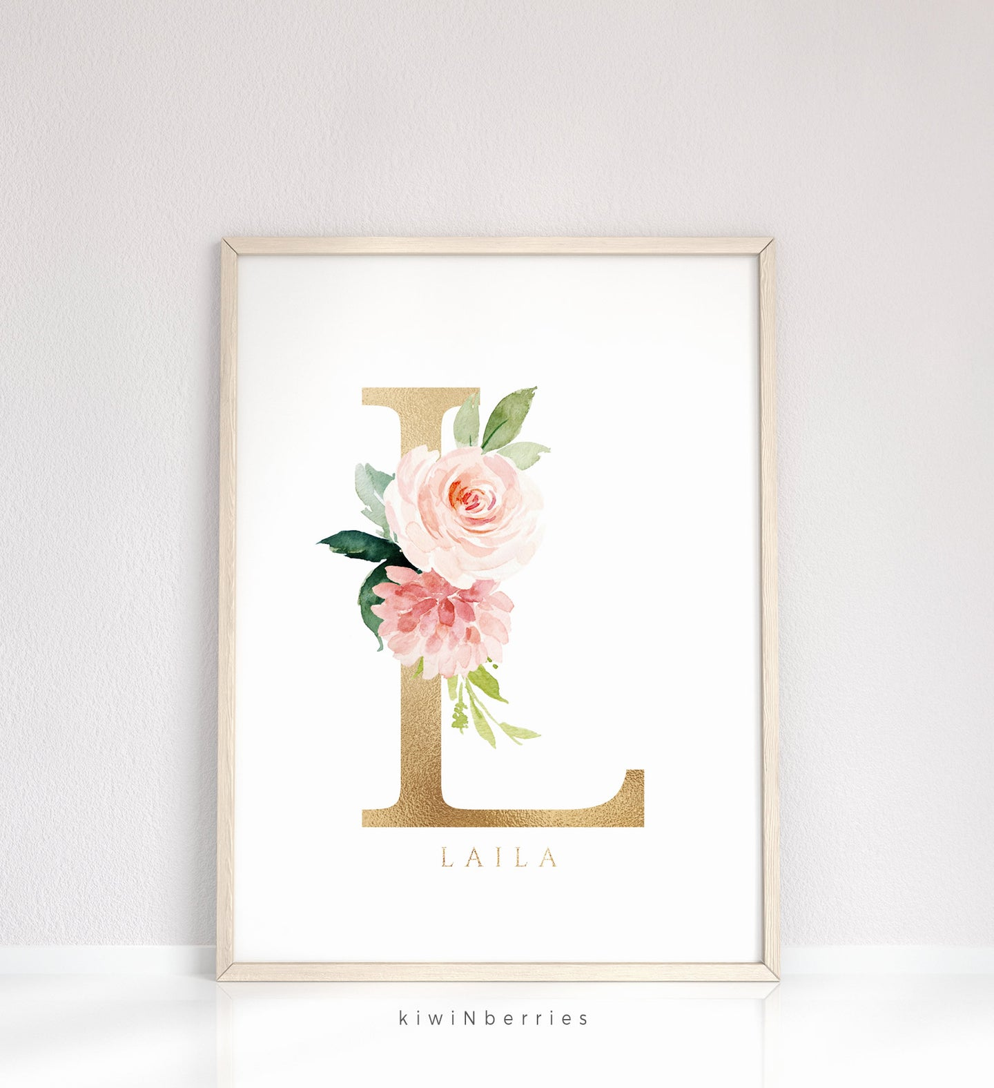 Name sign in blush pink