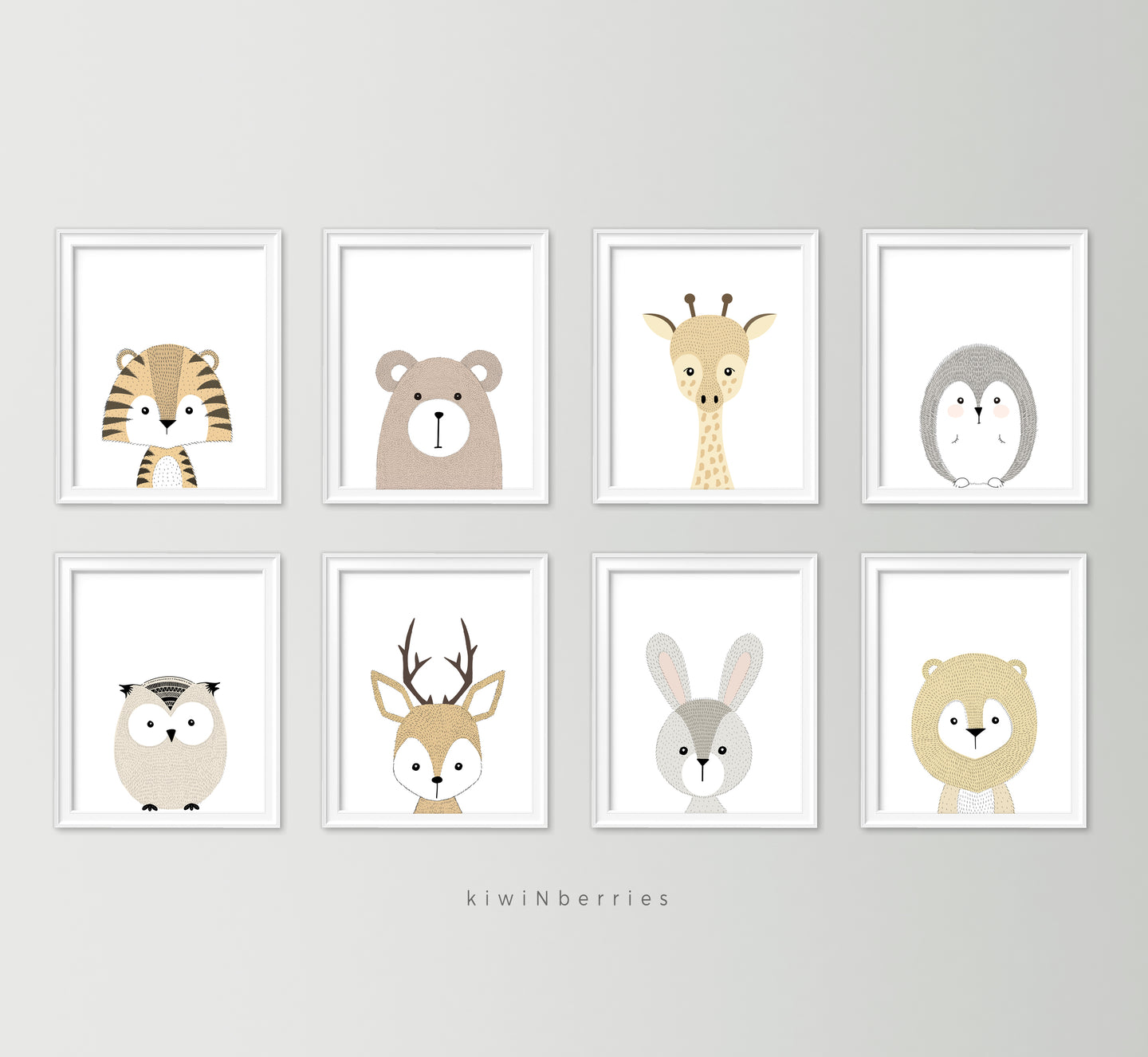 Hairy Animals - set of 8
