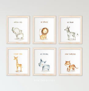 Safari Quote Animals - set of 6